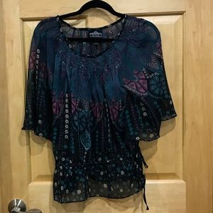 Angie sheer boho blouse scoop neck